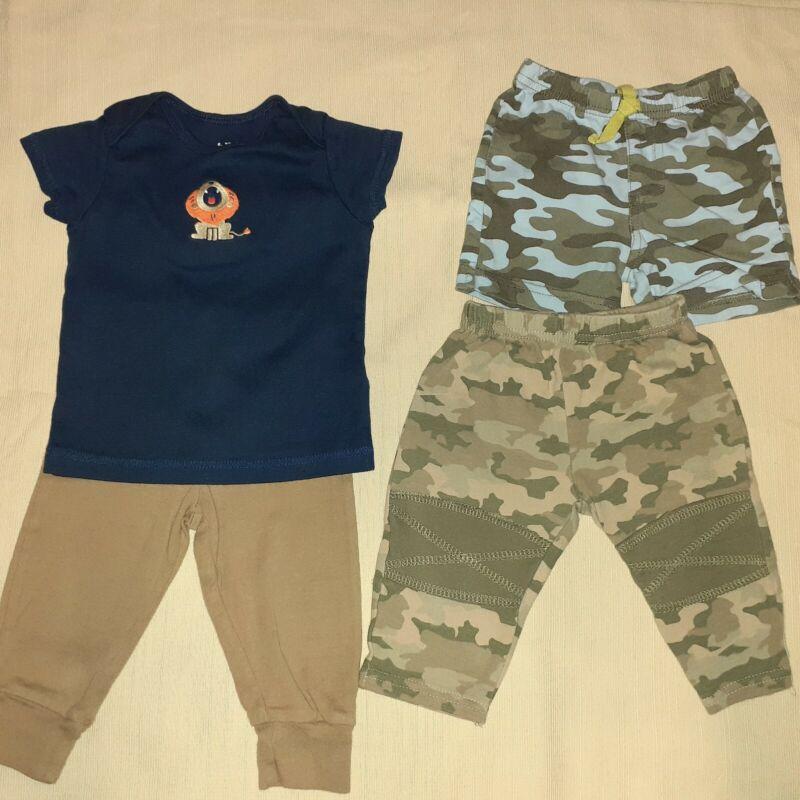 Lot of 4: child of mine baby boys pants green shorts dark blue t-shirt sz 6-9 m