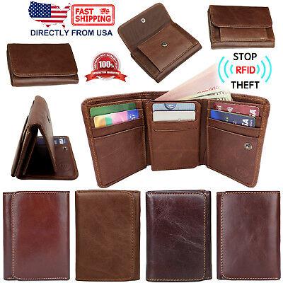 Men's RFID Blocking Genuine Full Grain Leather ID Window Trifold (Full Leather Wallet)
