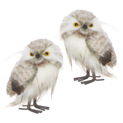 RAZ Imports Christmas Plush Faux Fur Feathered Owl Figurines Set of 2 - 6 inch