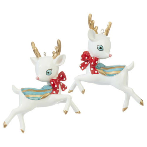 RAZ Imports Christmas Reindeer Hanging Ornaments - Set of 2 - 4 inch x 3.5 inch
