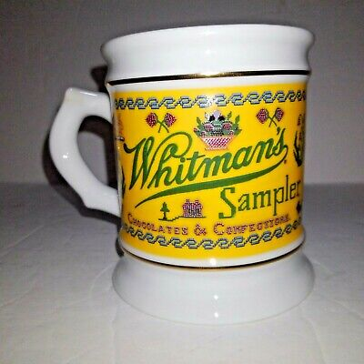 VINTAGE 1984 WHITMAN'S SAMPLER COFFEE MUG PORCELAIN Great Advertising