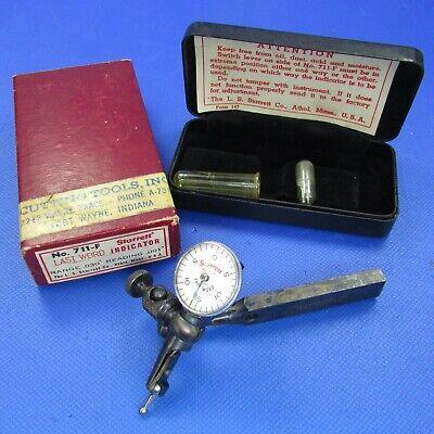 Beautiful Early Starrett 711 F Last Word Test Indicator Case Box Machinist