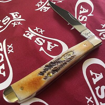 Case XX Cutlery Folding Bone Stag Slimline Trapper Pocket Knife 65307 MINT !