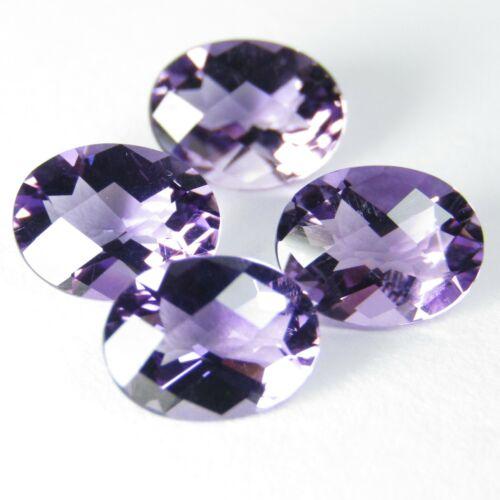 4.55Ct Ravishing Natural Amethyst 8x6mm Oval Checker Cut 4Pcs Loose Gems Ref VDO
