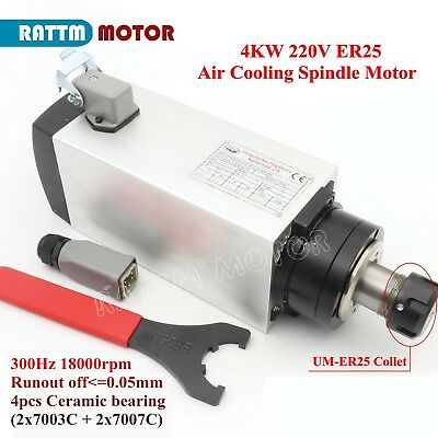 4kw 220v Air Cooled Spindle Motor Er25 300hz 18000rpm 4 Bearing For Cnc Router