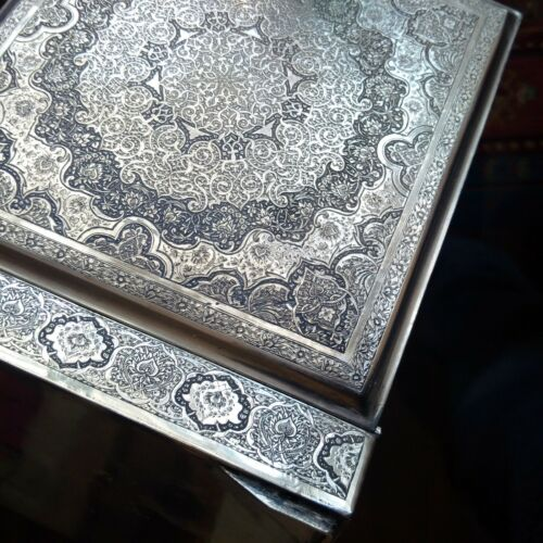PERSIAN ART EXHIBITION, FASCINATING LARGE SOLID SILVER JEWELRY VANITY BOX