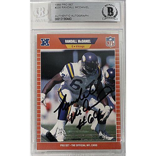 Randall McDaniel Vikings Signed 1989 Pro Set Football Card Beckett BAS Autograph