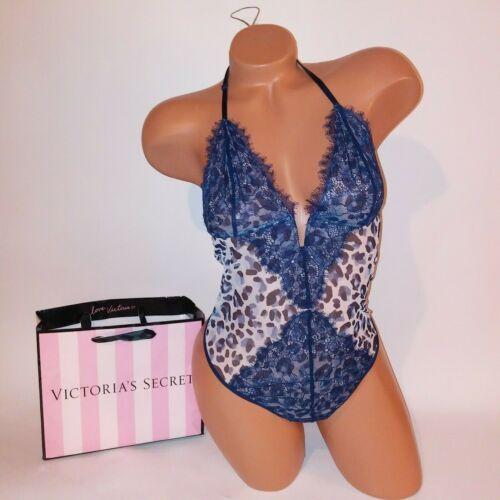 Victoria Secret Lingerie XL Teddy One Piece Bodysuit Leopard Animal Blue Lace