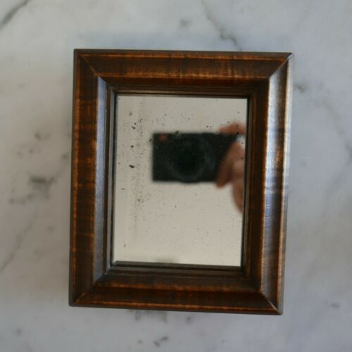 "Vintage Antique Small Tiger Maple Mirror 5-1/2"" x 5"" Sold for $75.00"
