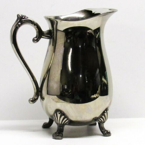 Vintage Electro-Plated Brass Silverplate Water Pitcher Jug Claw Foot Ice Guard