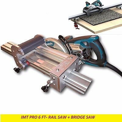 Imt Pro Wet Cutting Makita Motor Rail Bridge Saw Combo For Granite - 6 Ft Rail