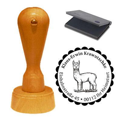 Stempel « süßes ALPAKA » Adressenstempel Motiv Name Adresse Kamel Anden Pako