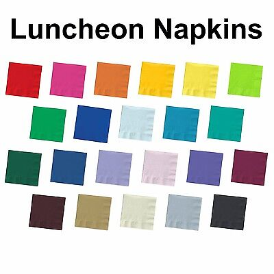 2-ply Paper Square Luncheon Napkins - Solid Colors- Disposable Dinner Bar Party  (Dinner Napkins Paper)