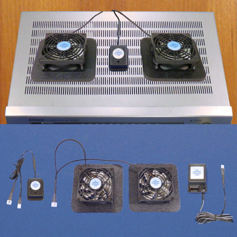 Amp/Receiver component cooling fans with thermoswitch & multi-speed fan control