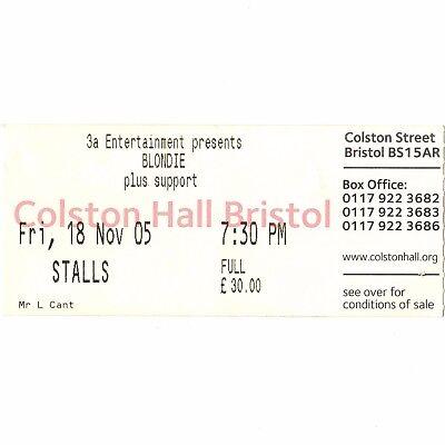 BLONDIE Concert Ticket Stub BRISTOL 11/13/05 ENGLAND COLSTON HALL DEBBIE HARRY
