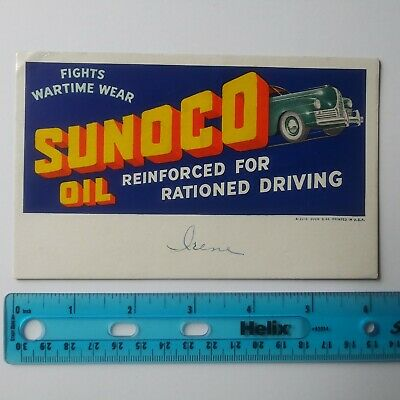 Sunoco Oil Vintage Ink Blotter Fights Wartime Wear WWII War Rationed Driving