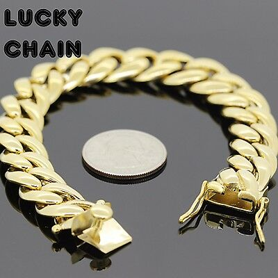 """8.5""""STAINLESS STEEL GOLD MIAMI CUBAN LINK BRACELET 14mm 70g IP103"""
