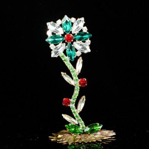 "Flower handmade from Czech republic - stand-up - rhinestone - 3.74"" x1.97"""