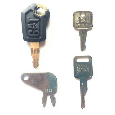 4 Pc Heavy Equipment Key Set - Cat John Deere Case Caterpillar With Oem Logos