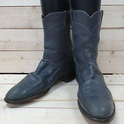 Vintage Justin Boots Grey leather Line Dancing Riding Western cowboy boots UK 10