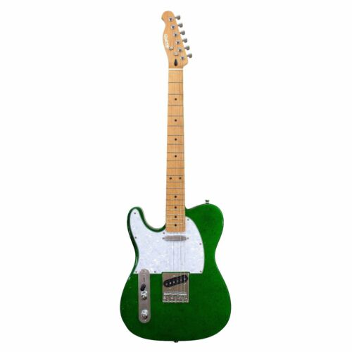 LEFT HANDED Sparkle Vegas Quincy Tele Style Electric Guitar Metallic Green lefty