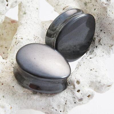 Pair of Hematite Organic Double Flared Teardrop Stone Ear Plugs Gauges 11mm-35mm - Hematite Flared Plugs