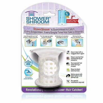 "ShowerShroom 2"" Hair Catcher for Shower Stall Drains (White) - TubShroom Family"