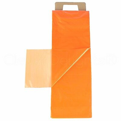 100 Pack - 7.5x21 Orange Newspaper Bags - 0.8 Mil Heavy Duty Flat Plastic Bag