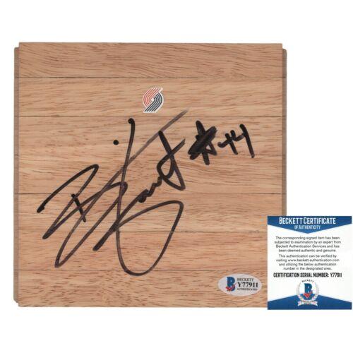 Brian Grant Trail Blazers Signed Basketball Floor Board Beckett BAS Autograph