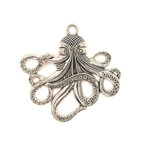 4 or 12 BULK pcs Large Silver Octopus Charm Pendants, Cthulhu - US Seller- AS122