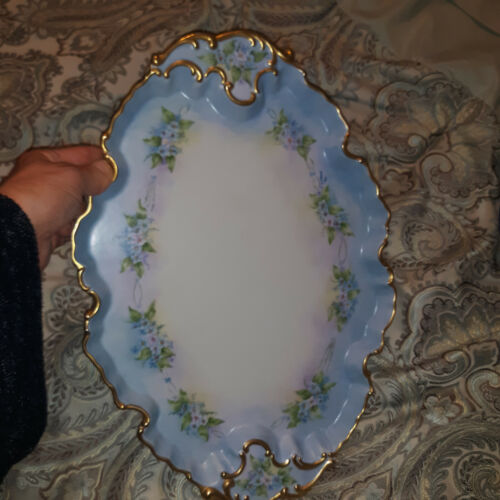 Porcelain Tray Platter Gorgeous Hand Painted