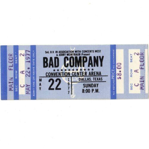 BAD COMPANY Full Concert Ticket Stub DALLAS TX 5/22/77 LEAVING YOU BURNIN