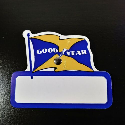 Lot of 25 Vtg Goodyear Tire Event or Visitor Name Tags  - Blue & Yellow Flag