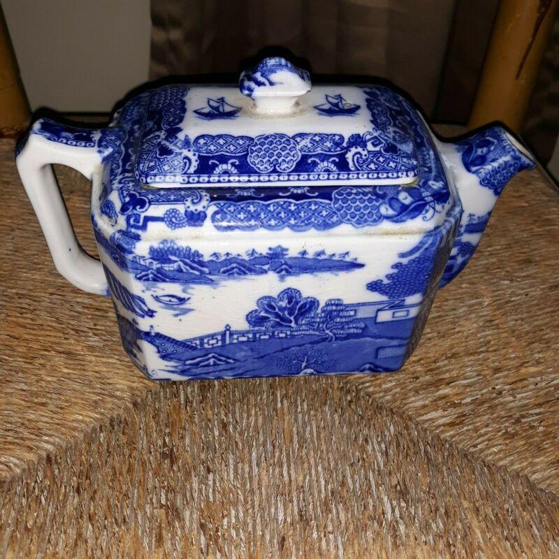 Antique Blue Willow Teapot
