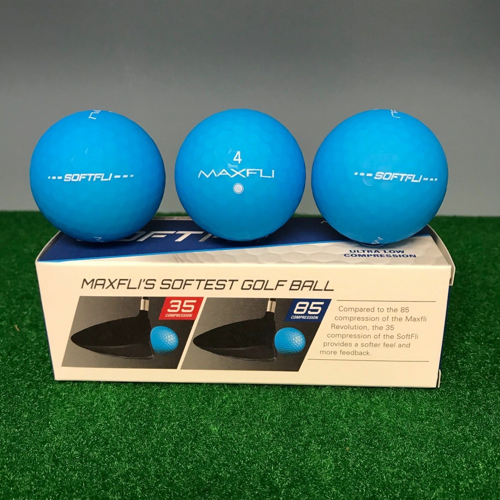 Maxfli SOFTFLI Vivid Color Golf Balls - BLUE  - NEW 3-BALL S