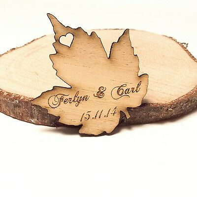 Personalised wooden leaf table decorations rustic or for Table decor international marietta ga