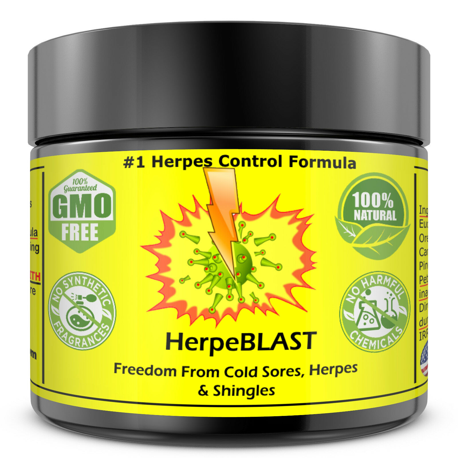 Herpes Treatment Cream Lips Genital HSV1 HSV2 HerpeBLAST SUPER BEST Suppression