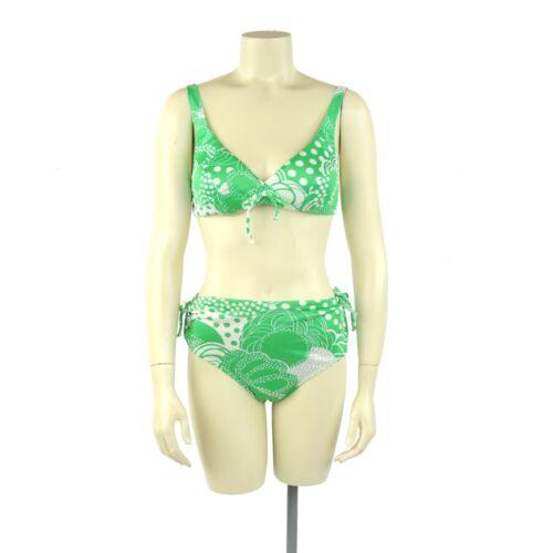 Vintage 60s 70s Rose Marie Reid Mod Green + White Floral Bikini Swimsuit NOS