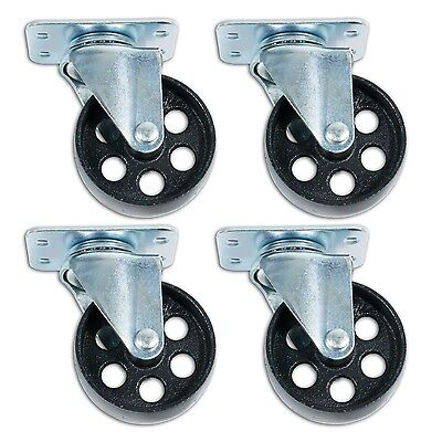 3.5 Swivel Ball Bearing Steel Caster Wheels With Top Plate Set Of 4