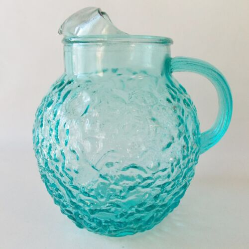 VINTAGE ANCHOR HOCKING AQUA TURQUOISE MILANO GLASS PITCHER 96 OZ ART GLASSWARE