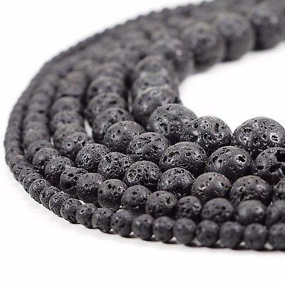 "Volcanic Lava Rock - Natural Black Lava Beads Round Volcanic Rock Gemstone 15"" 4 6 8 10 12 14mm sizes"