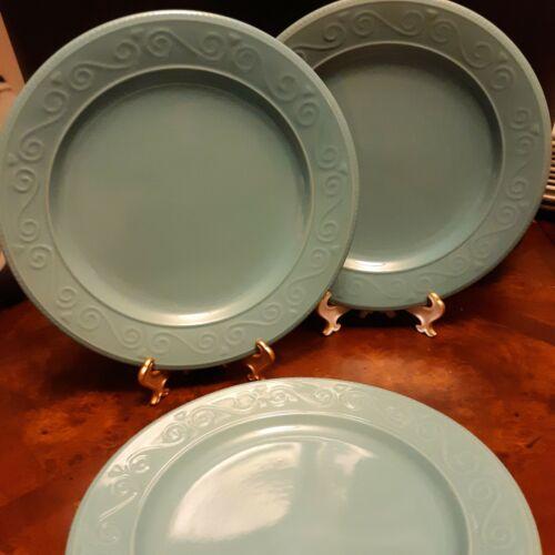 "- Royal Norfolk - Embossed Scrolls Blue - 10 5/8"" DINNER PLATES"
