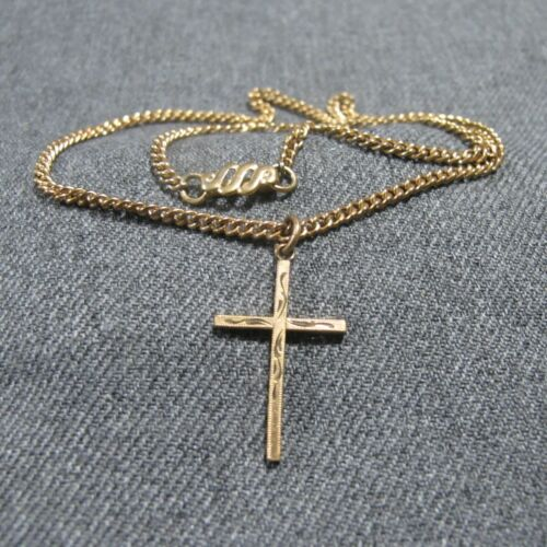 Antique marked 1/20 12K gold filled engraved cross pendant chain strap necklace