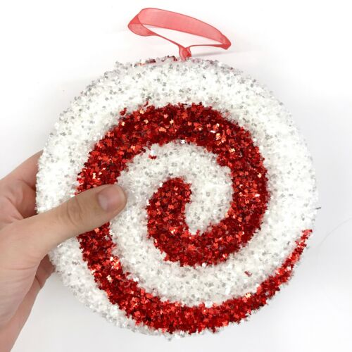 Sparkly Red & White Peppermint Candy Christmas Ornament Candies Spiral R