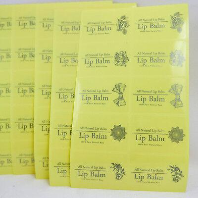- 100 Transparent Vinyl Lip Balm Stickers 45mm x 30mm Printed Labels 1.7