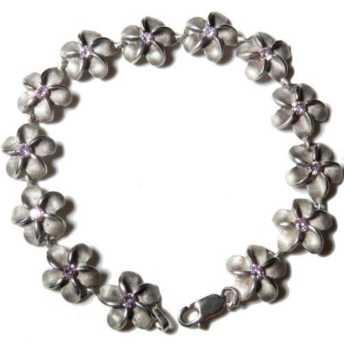 Vintage Sterling Silver Plumeria Flower Hawaiian Link Bracelet Floral rhinestone