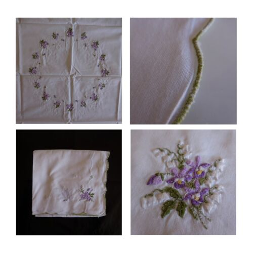 Tablecloth Square Embroidery Flowers Handmade Textile Antique Art New France