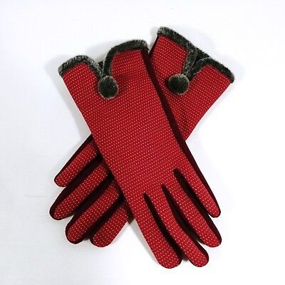 Womens Red Gloves Trimmed One Size Fits Most Winter Driving Dress (Red Dress Gloves)