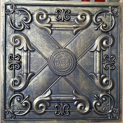 PL22 Faux tin painted ancient gold gray ceiling tile decor wall panel 10tile/lot