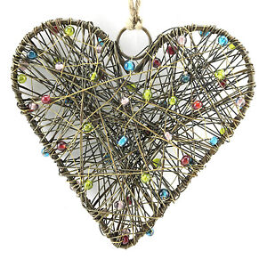 Christmas-Heart-Ornament-Beaded-Wire-Tree-Decoration-Handmade-Metal-Hanging-5